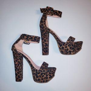 Cheetah Ankle Strap Platform Pumps